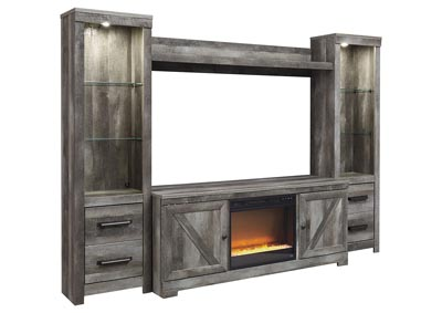Wynnlow Gray Entertainment Center w/Black Glass/Stone Fireplace Insert