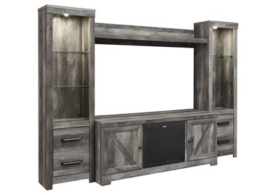 Wynnlow Gray Entertainment Center w/Black Large Integrated Audio