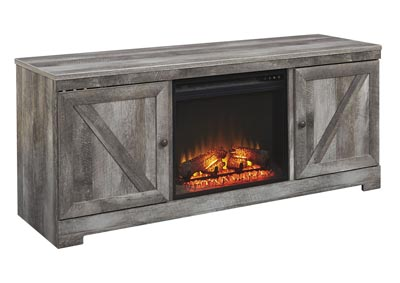 Wynnlow Gray LG TV Stand w/Black Fireplace Insert