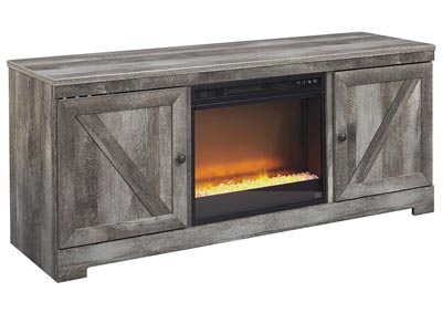 Image for Wynnlow Gray LG TV Stand w/Black Glass/Stone Fireplace Insert