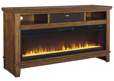 Ralene Medium Brown Extra Larage TV Stand w/Fireplace and Small Integrated Audio
