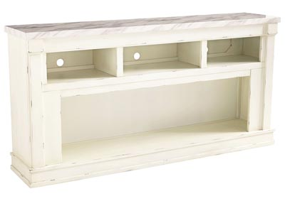 Becklyn Chipped White XL TV Stand w/Fireplace Option