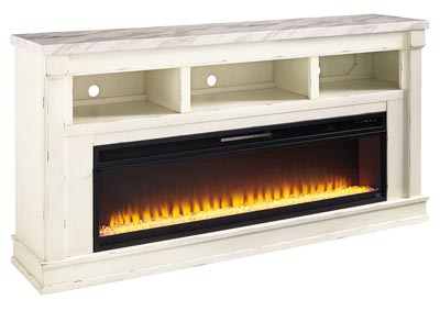 Becklyn Chipped White XL TV Stand w/Fireplace