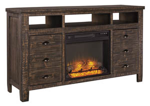 Trudell Dark Brown Extra Large TV Stand w/Fireplace