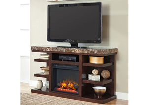 Kraleene Large TV Stand w/LED Fireplace Insert