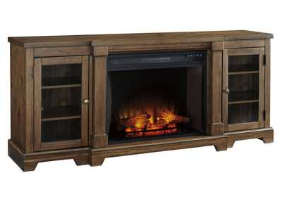 Flynnter Medium Brown XL TV Stand w/Fireplace