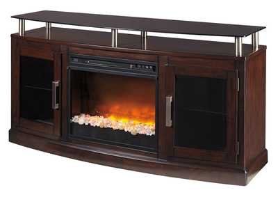 Chanceen Dark Brown Medium TV Stand w/Glass/Stone Fireplace