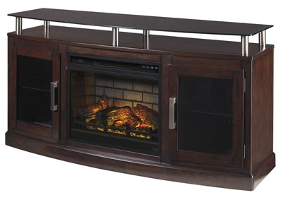 "Image for Chanceen Dark Brown 60"" TV Stand w/Fireplace Insert Infrared"