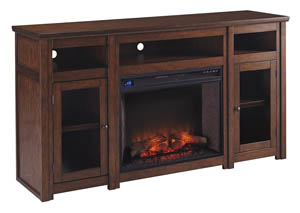 Harpan Reddish Brown XL TV Stand w/Fireplace