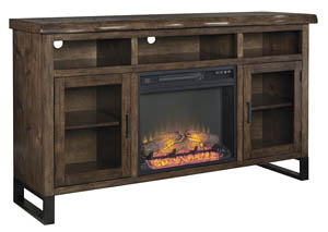 Esmarina Walnut Brown Large TV Stand w/Fireplace