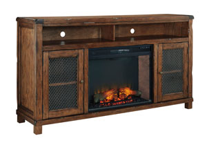 Tamonie Rustic Brown XL TV Stand With LED Fireplace