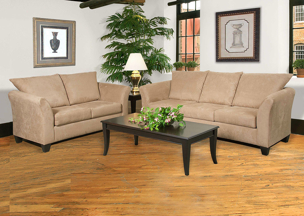 Sienna Mocha Stationary Sofa and Loveseat,Atlantic Bedding & Furniture
