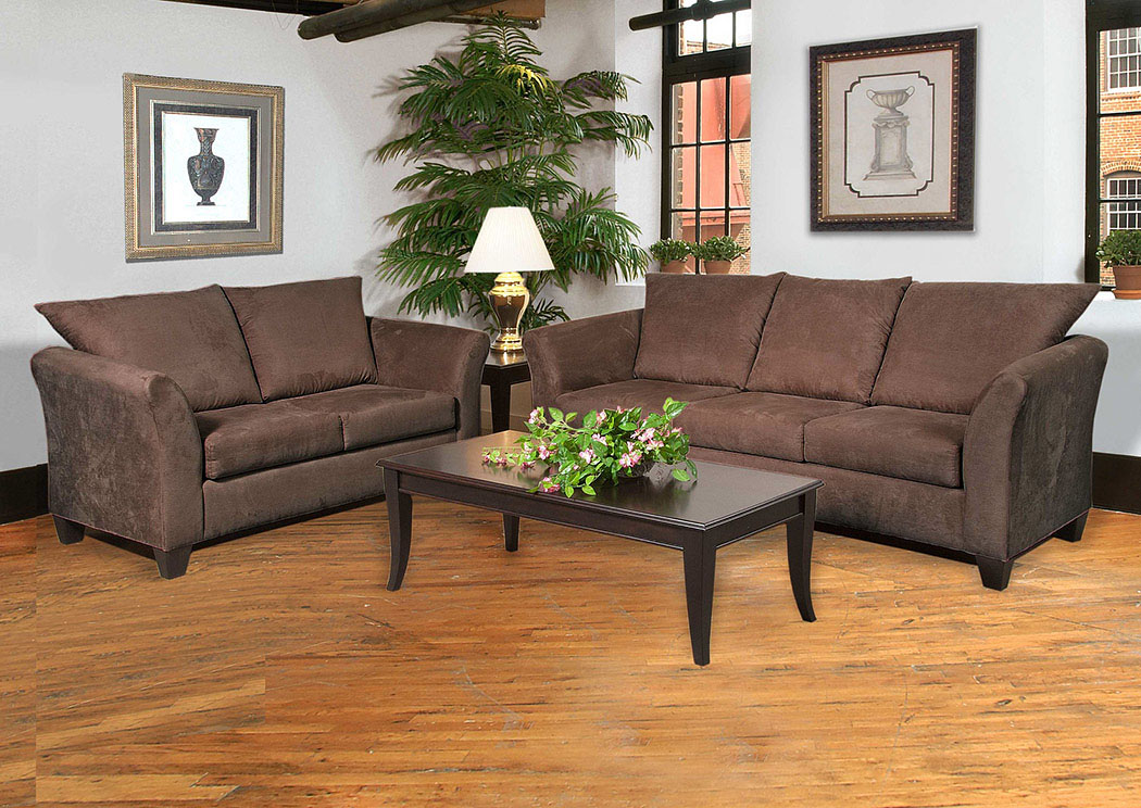 Sienna Chocolate Stationary Sofa and Loveseat,Atlantic Bedding & Furniture