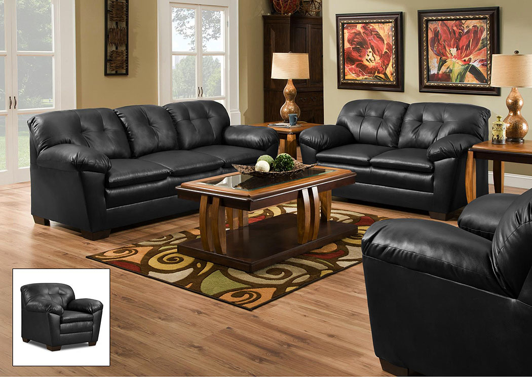 1200 Cowgirl Black Loveseat,Atlantic Bedding & Furniture