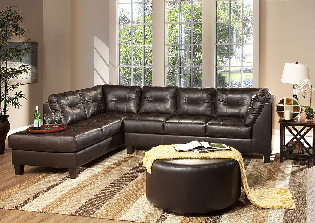 San Marino Chocolate Sectional,Serta Hughes