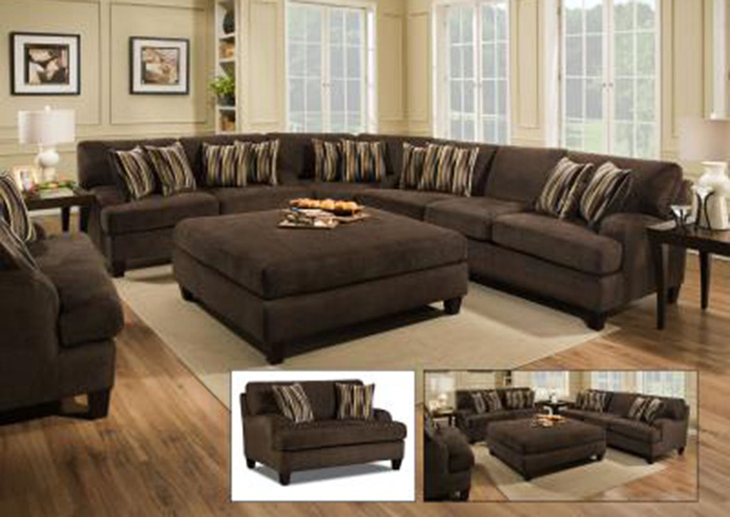 3900 Maverick Chocolate Sofa,Atlantic Bedding & Furniture