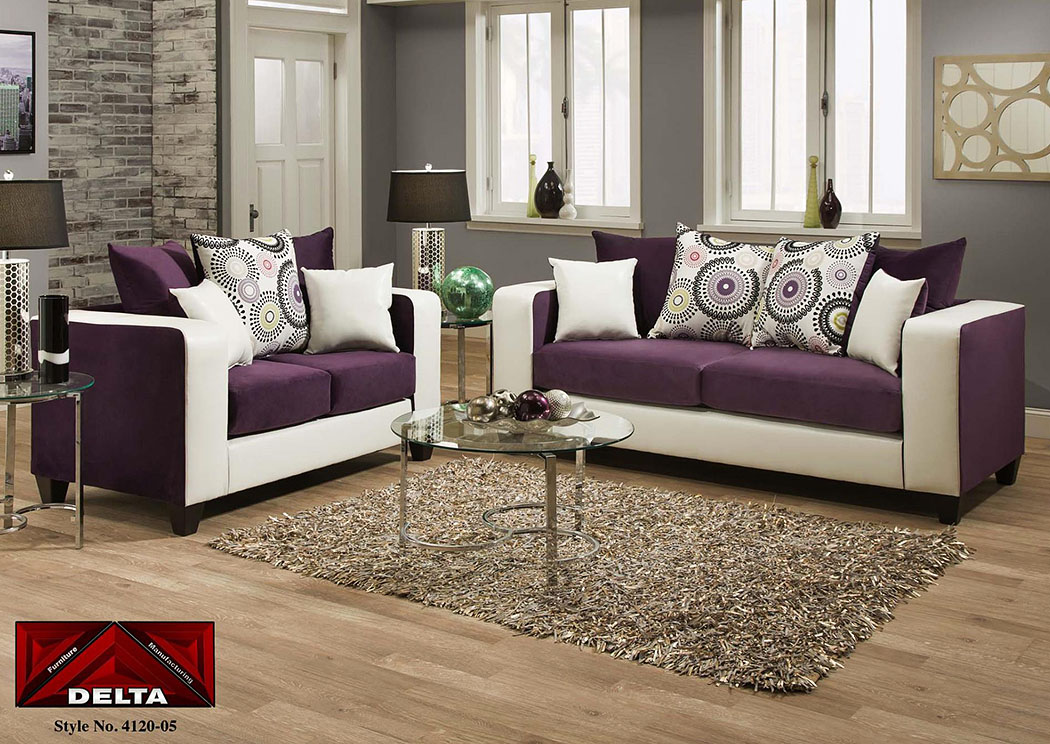 purple couch living room atlantic bedding and furniture implosion purple demsey 12297