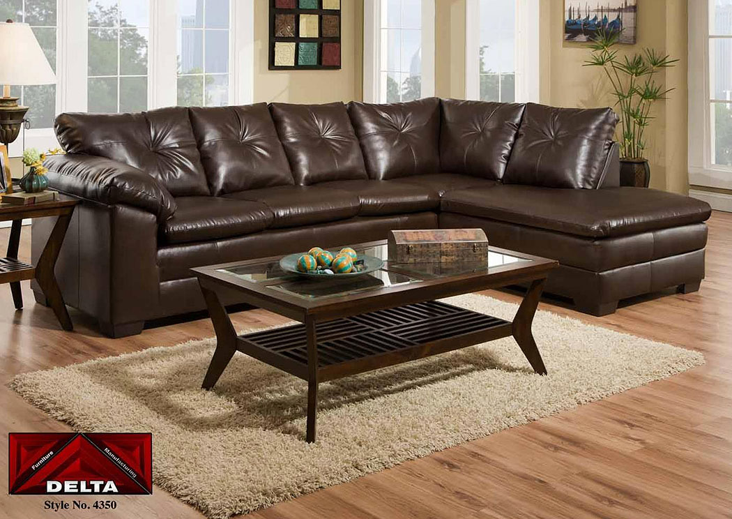 Cowboy Brown Sectional w/ Right Facing Chaise ,Atlantic Bedding & Furniture