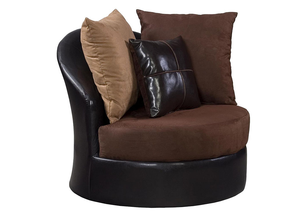Jefferson Chocolate/Sierra Chocolate Swivel Chair,Atlantic Bedding & Furniture