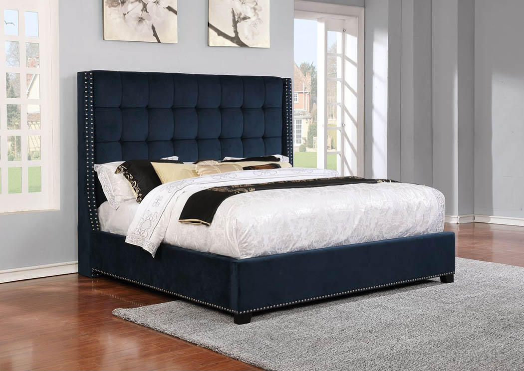 9247 Brooks Grey Queen Upholstered Bed,Atlantic Bedding & Furniture