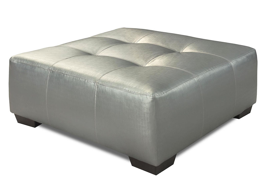933 Shimmer Silver Cocktail Ottoman,Atlantic Bedding & Furniture