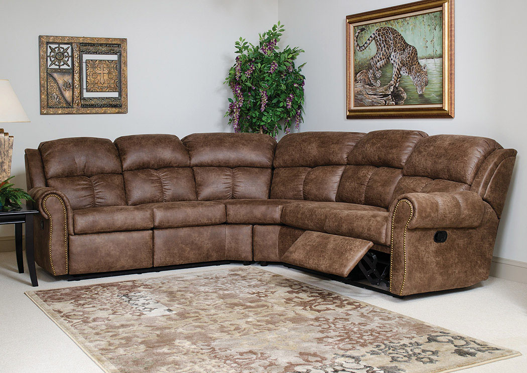 Mustang Mocha Reclining Sectional,Atlantic Bedding & Furniture