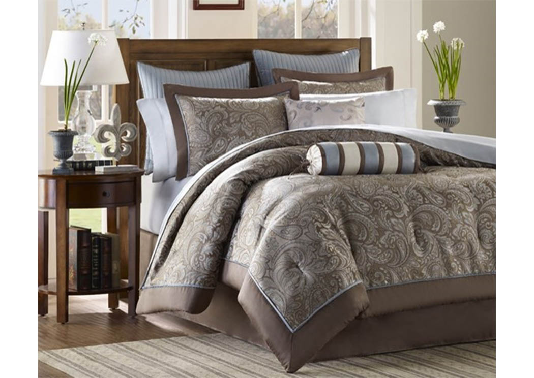 Aubrey Blue 12 Piece Queen Bedding Set,Atlantic Bedding & Furniture