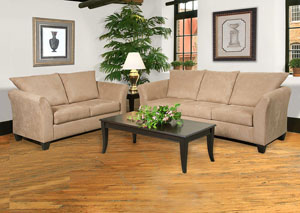 Sienna Mocha Stationary Sofa and Loveseat