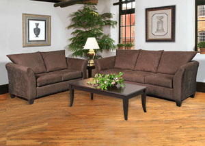 Sienna Chocolate Stationary Sofa and Loveseat