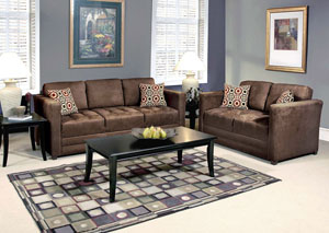 Sienna Chocolate Skinny Minnie Godiva Stationary Sofa and Loveseat