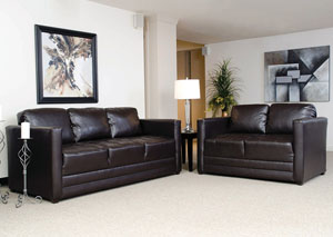 San Marino Chocolate Stationary Sofa and Loveseat