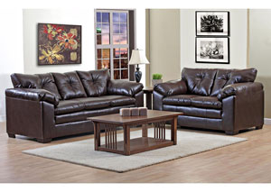 Cowboy Brown Sofa and Loveseat