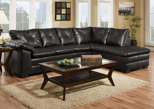 Cowboy Black Sectional w/ Right Facing Chaise
