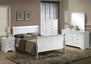 Louis White King Sleigh Bed w/ Dresser, Mirror, and Nightstand