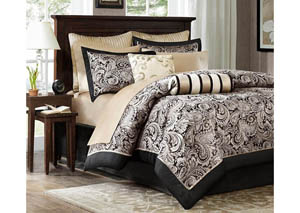 Aubrey Black 12 Piece King Bedding Set