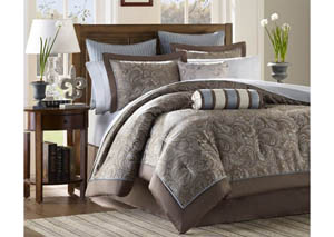 Aubrey Blue 12 Piece King Bedding Set