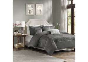 Trinity Grey 7 Piece Queen Comforter Set