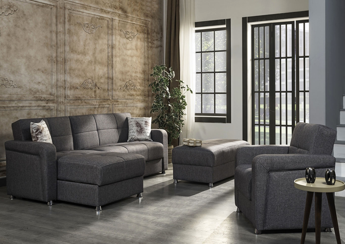 Harmony Gray Ottoman,CasaMode Functional Furniture