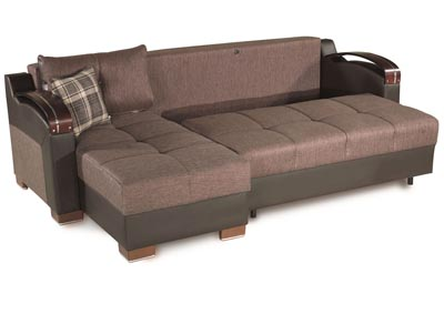 Image for Divan Deluxe Brown Chenille Sectional