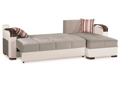 Divan Deluxe Gray Microfiber Sectional,CasaMode Functional Furniture