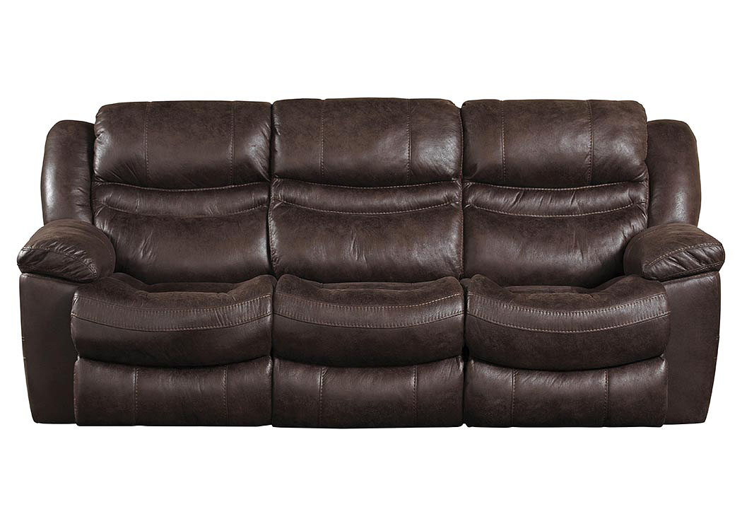 Valiant Coffee Reclining Sofa w/3 Recliner & Drop Down Table,ABF Catnapper
