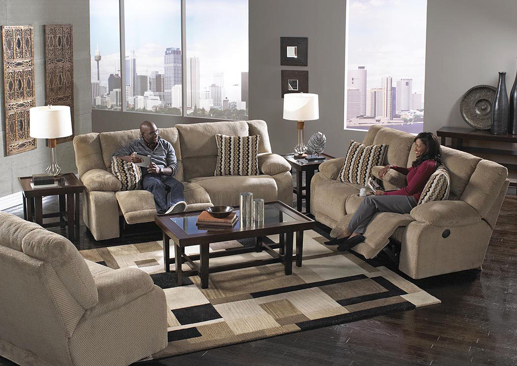 Hammond Coffee/Taupe Reclining Sofa & Loveseat w/Storage & Cupholders,ABF Catnapper