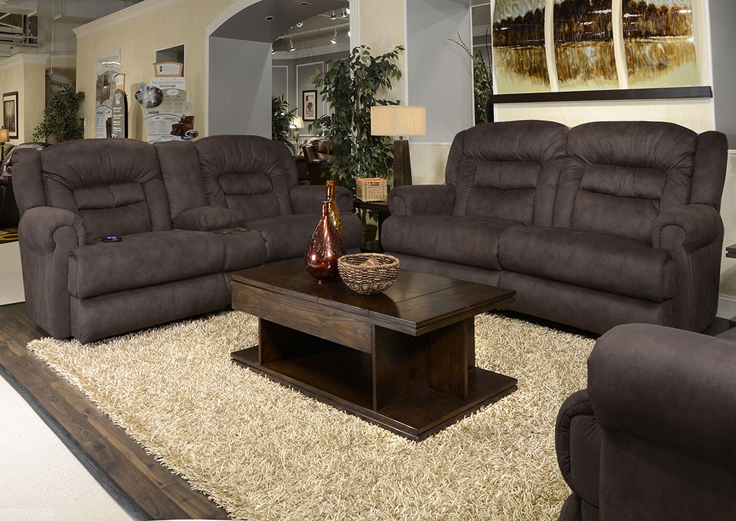 Atlas Sable Reclining Sofa and Console Loveseat w/Storage & Cupholders,ABF Catnapper