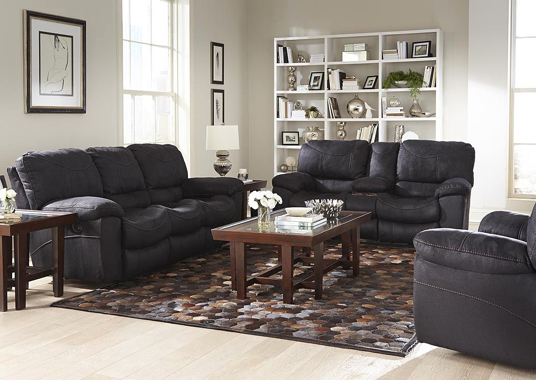 Roberts Furniture Mattress Terrance Black Power Reclining Sofa And