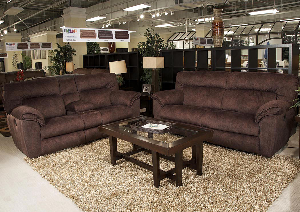 Nichols Chestnut Power Lay Flat Reclining Sofa And Console Loveseat W/  Storage U0026 Cupholders,