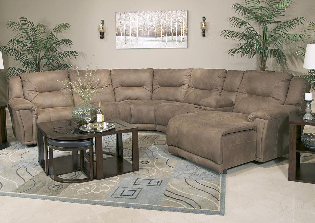 Montgomery Cement Power Left Facing Chaise Sectional w/USB Console Storage Box,ABF Catnapper