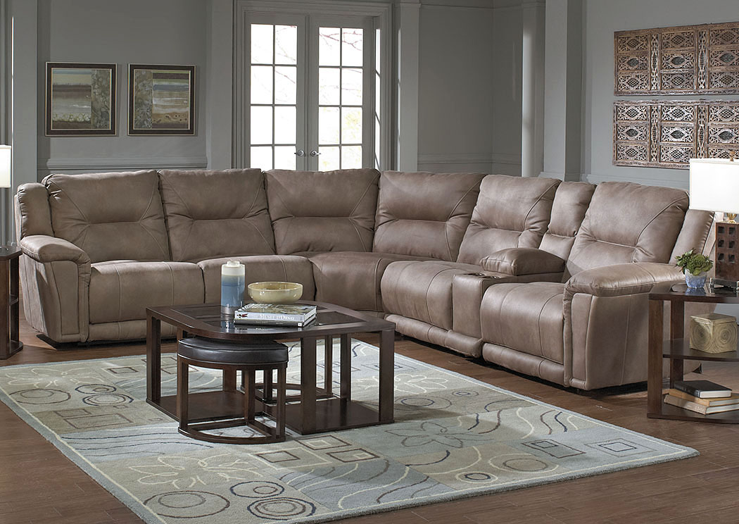 Montgomery Cement Lay Flat Left Facing Recliner Sectional w/Console Storage Box,ABF Catnapper