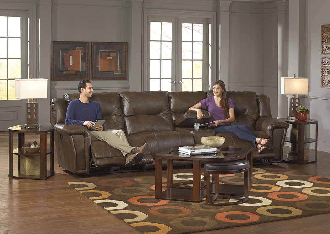 Montgomery Timber Lay Flat Recliner Sectional w/Console Storage Box,ABF Catnapper