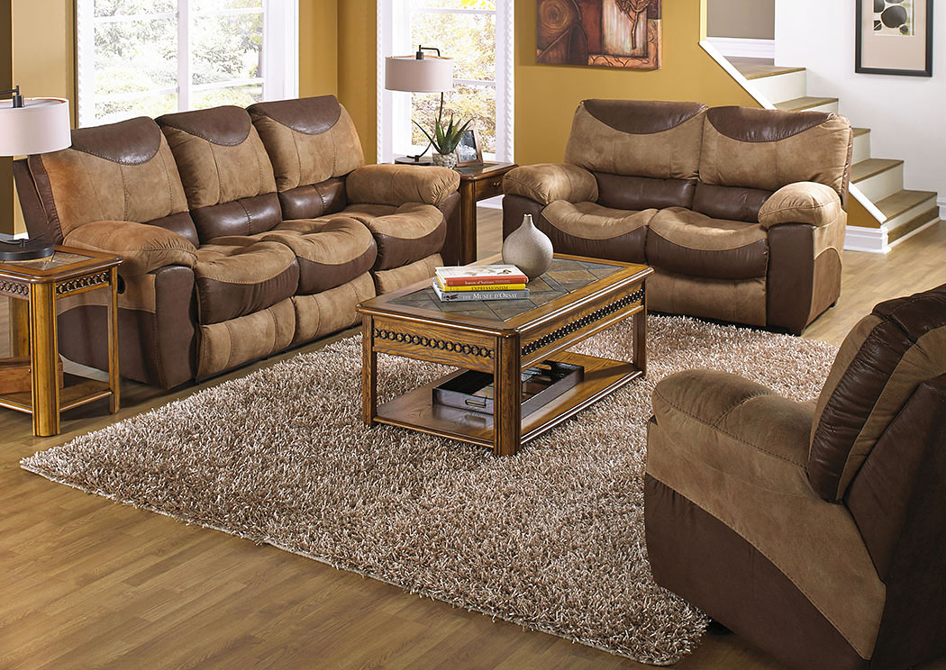 Portman Saddle/Chocolate Power Reclining Sofa And Stationary  Loveseat,Catnapper