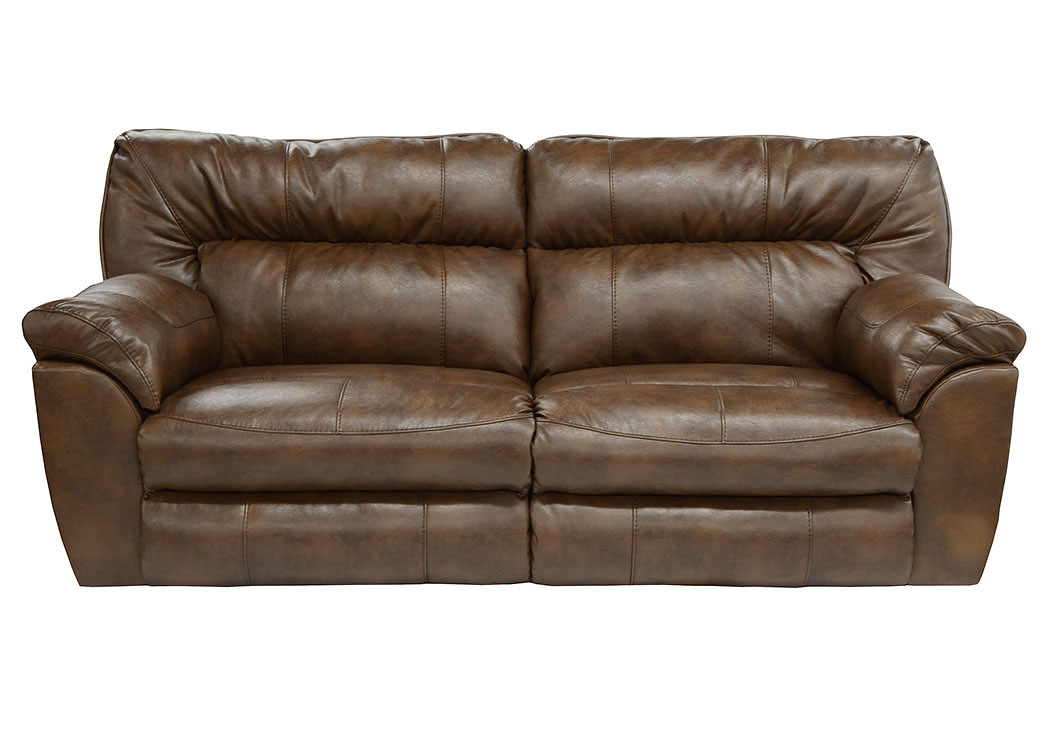 Jarons Nolan Chestnut Bonded Leather Power Extra Wide Reclining Sofa